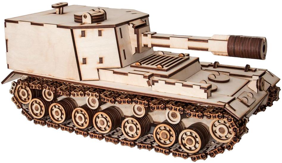 Eco Wood Art 3D modelbouw Tank 38 cm hout naturel 684 delig