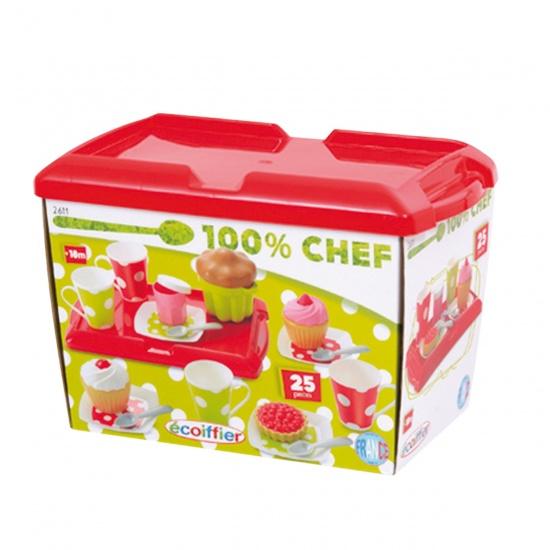 écoiffier 100% Chef: ontbijt op dienblad 25 delig