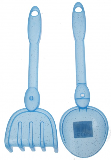 écoiffier hark en schep blauw 30 cm