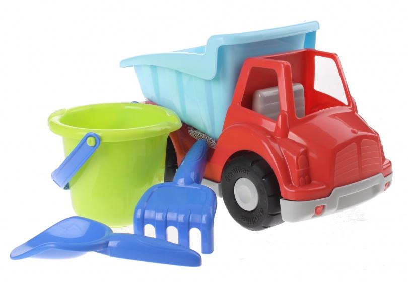 écoiffier vrachtwagen met zandspeelgoed 27 cm 4 delig