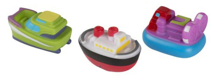 Eddy Toys Spuitboot badspeelgoed paars/groen 3 stuks