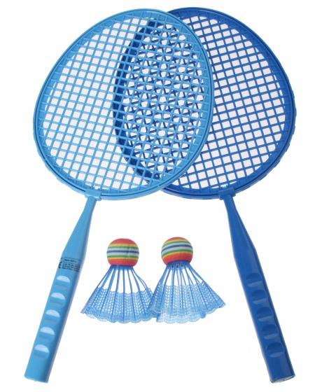 Eddy Toys badmintonset junior blauw 43 cm 5 delig