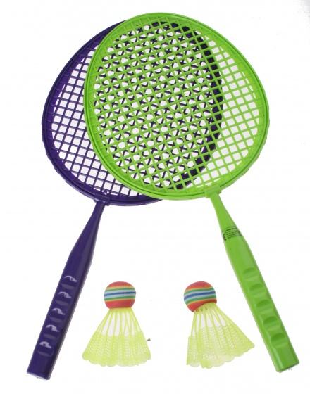 Eddy Toys badmintonset junior groen/paars 43 cm 5 delig