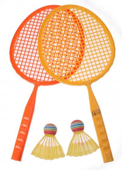 Eddy Toys badmintonset junior oranje 43 cm 5 delig