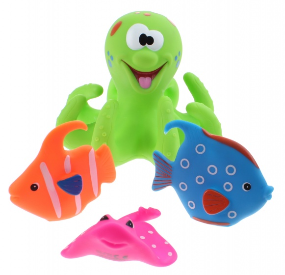 Eddy Toys badspeelgoed Octopus groen 4 delig