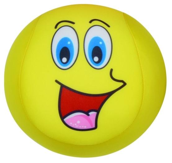 Eddy Toys bal met smiley pluche geel 15 cm