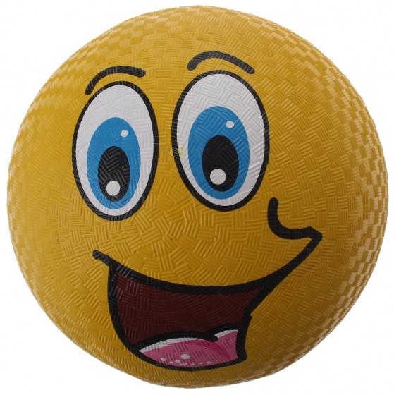 Eddy Toys bal smiley rubber geel 22 cm