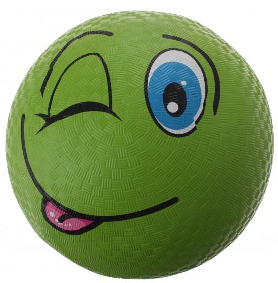 Eddy Toys bal smiley rubber groen 22 cm
