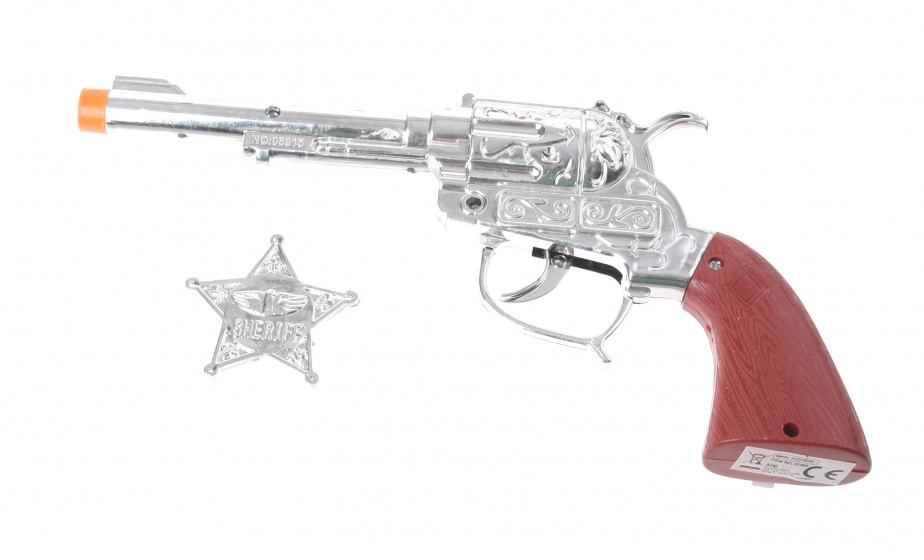 Eddy Toys Cowboy pistool met sheriff ster zilver