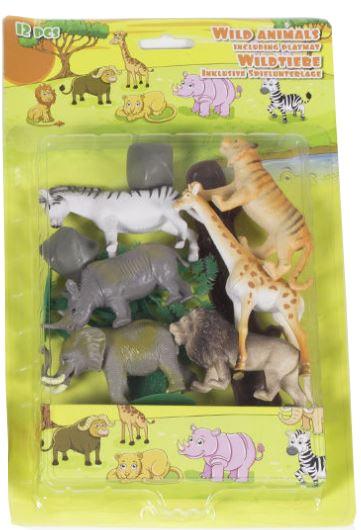 Eddy Toys Dieren speelset met speelmat: Wild 12 stuks