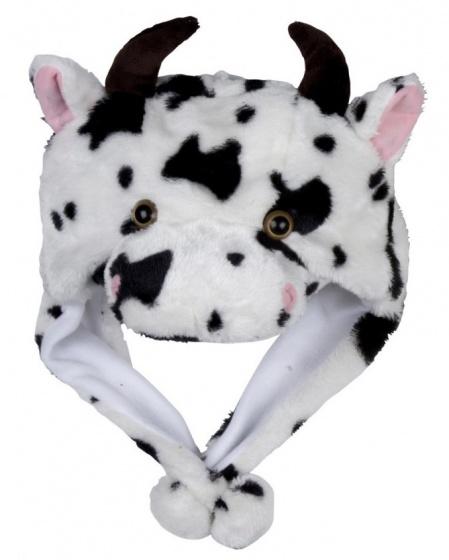 Eddy Toys Dierenhoed pluche koe zwart/wit