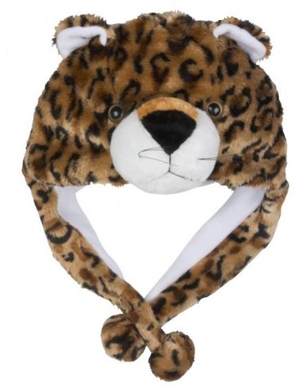 Eddy Toys Dierenhoed pluche luipaard bruin/zwart