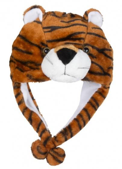 Eddy Toys Dierenhoed pluche tijger bruin