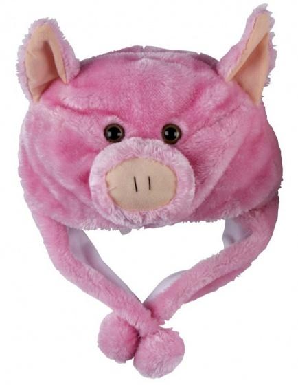 Eddy Toys Dierenhoed pluche varken roze