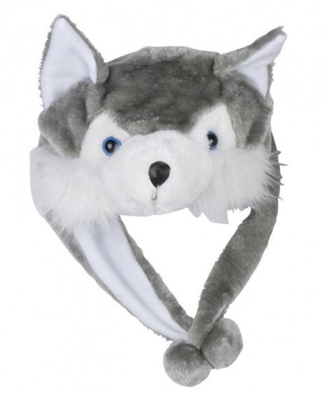 Eddy Toys Dierenhoed pluche wolf grijs