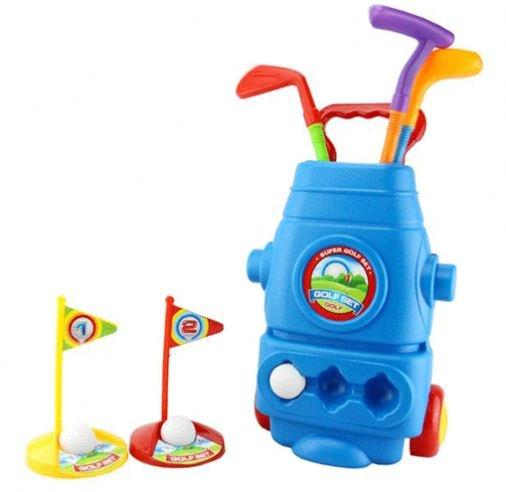Eddy Toys junior golf set caddy 8 delig blauw