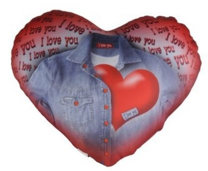 Eddy Toys hartjes kussen 23 x 20 cm rood/blauw