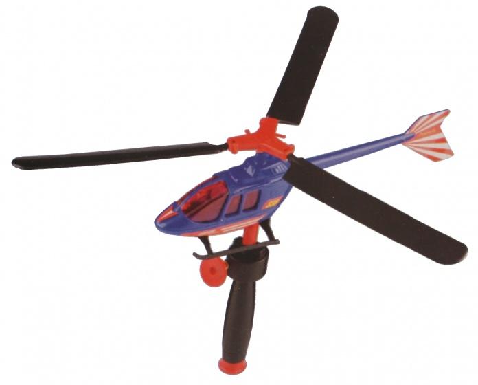 Eddy Toys Helikopter met trekkoord 30 cm blauw