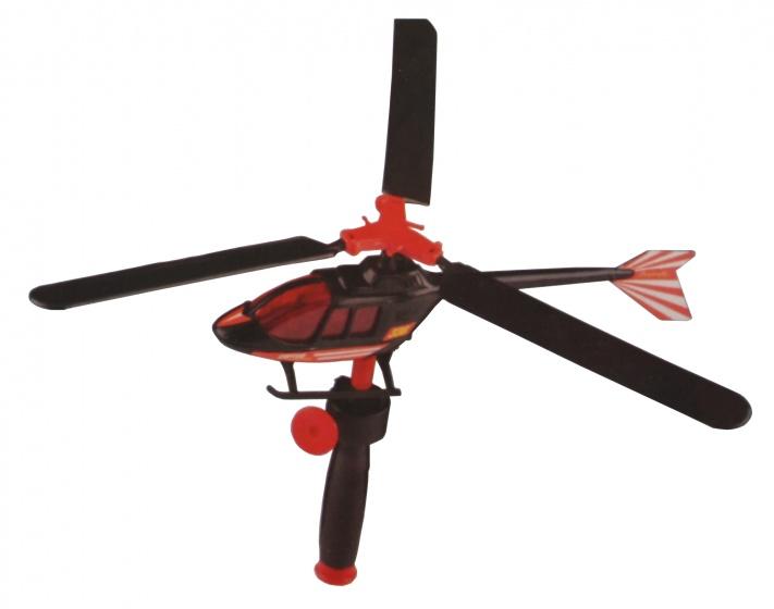 Eddy Toys Helikopter met trekkoord 30 cm zwart