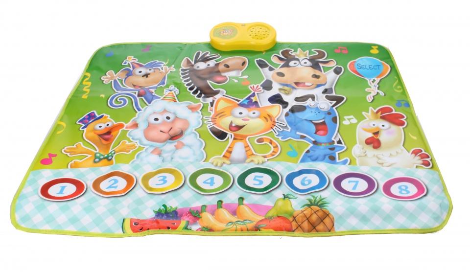 Eddy Toys interactieve speelmat Dieren 90 x 70 cm