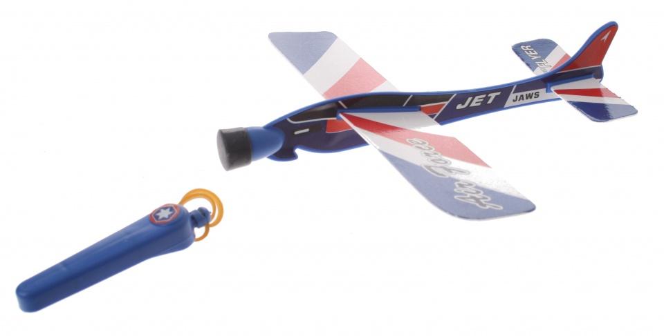 Eddy Toys katapult vliegtuig blauw 20 cm