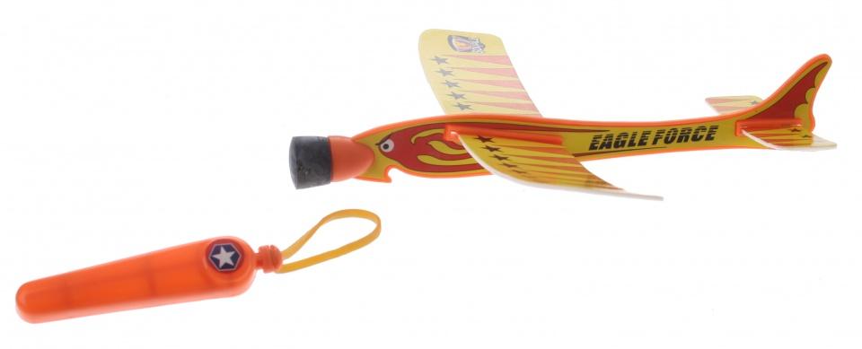 Eddy Toys katapult vliegtuig geel 20 cm