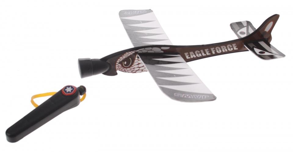 Eddy Toys katapult vliegtuig zwart 20 cm