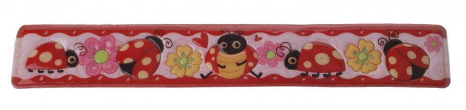 Eddy Toys klaparmband lieveheersbeestje rood/roze 22 cm
