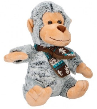 Eddy Toys knuffel aap grijs/groen 27 cm