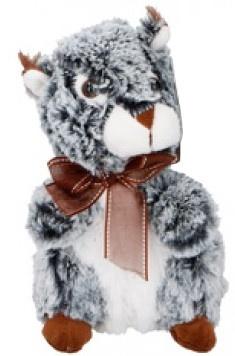 Eddy Toys knuffel eekhoorn grijs/groen 19 cm