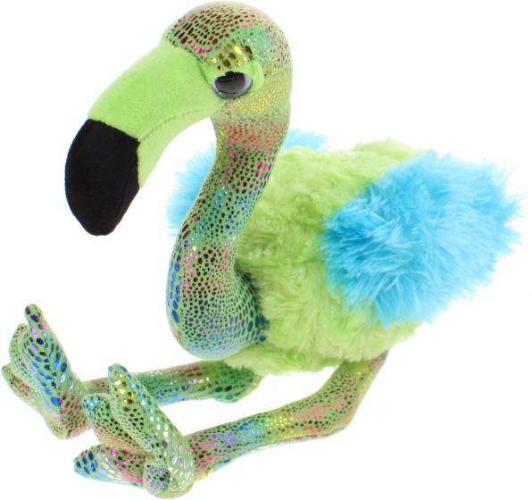 Eddy Toys knuffel Flamingo blauw/groen 27 cm