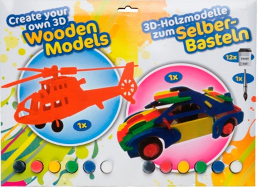 Eddy Toys Knutsel houtmodel 3D auto/helikopter