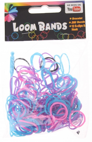 Eddy Toys Loom Bands armband maken paars/blauw/roze 213 delig