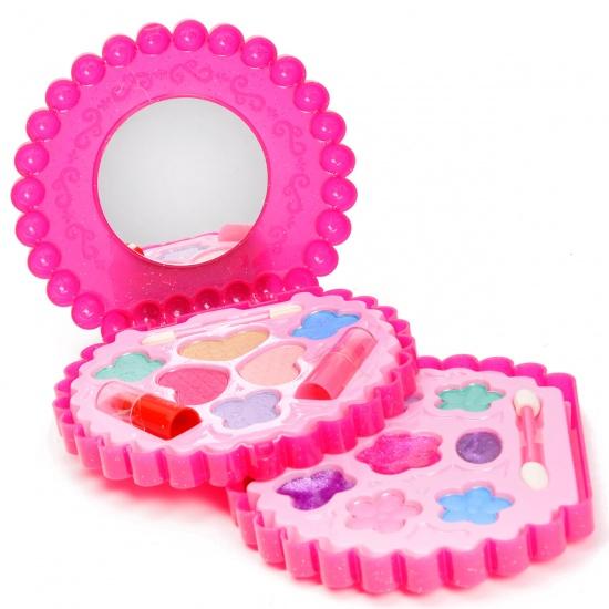 Eddy Toys Make up set ronde vorm met spiegel 14 cm roze