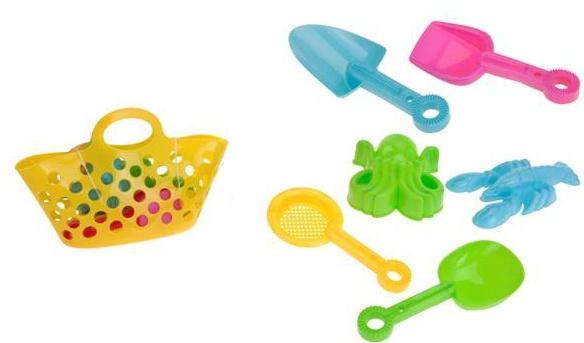 Eddy Toys Mand met strandspeelgoed geel