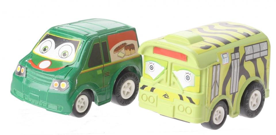 Eddy Toys Mini terugtrekvoertuigen: bakker en safaribus