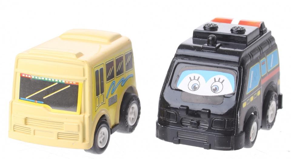 Eddy Toys Mini terugtrekvoertuigen: bus en hulpdienst