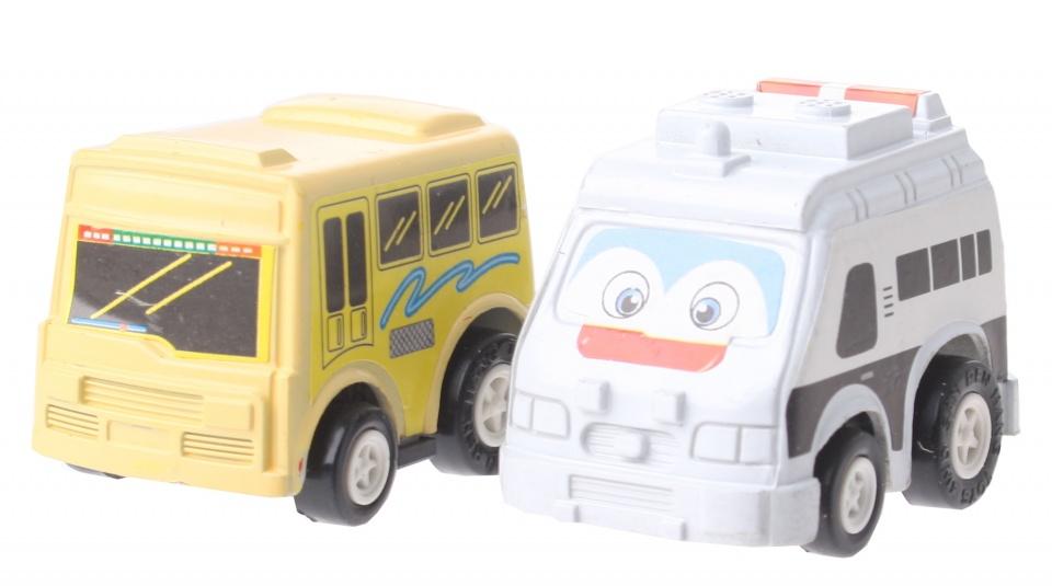 Eddy Toys Mini terugtrekvoertuigen: bus en hulpvoertuig