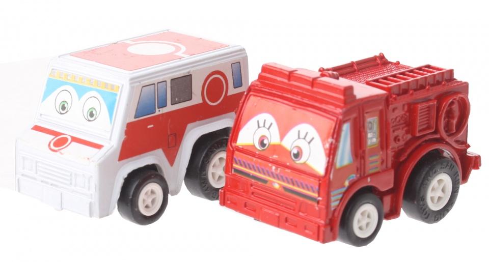 Eddy Toys Mini terugtrekvoertuigen: busje en brandweer