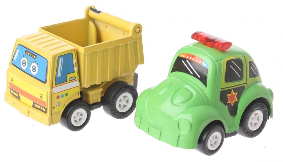 Eddy Toys Mini terugtrekvoertuigen: kiepwagen en politie