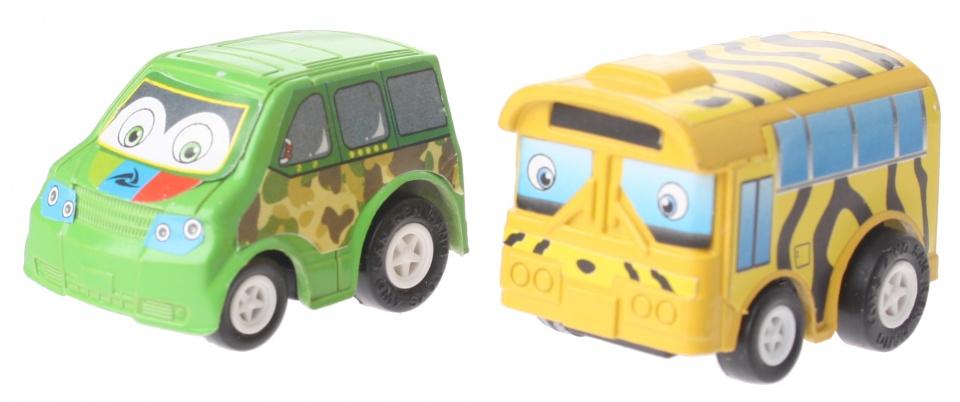 Eddy Toys Mini terugtrekvoertuigen: legerauto en safaribus