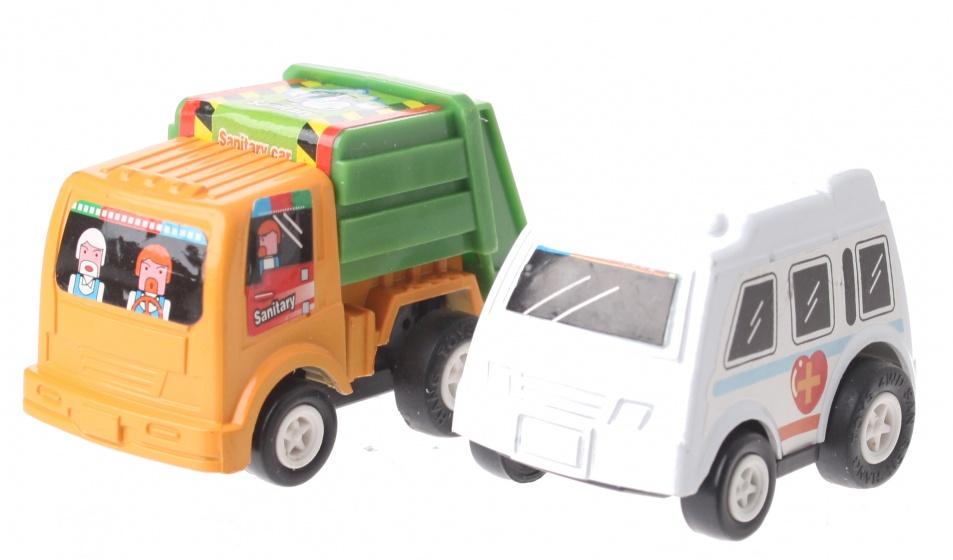 Eddy Toys Mini terugtrekvoertuigen: vuilniswagen en ambulance