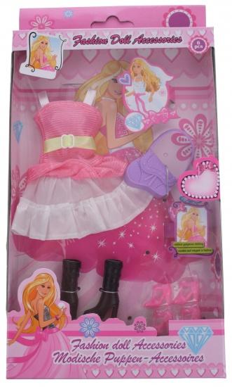 Eddy Toys Modepop accessoires roze / wit