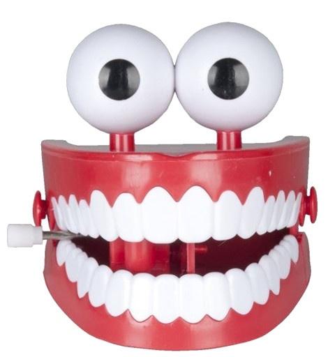 Eddy Toys opwindbaar gebit rood/wit 7 cm