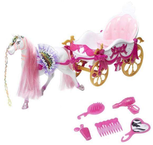 Eddy Toys Paard en koets speelset 10 delig roze