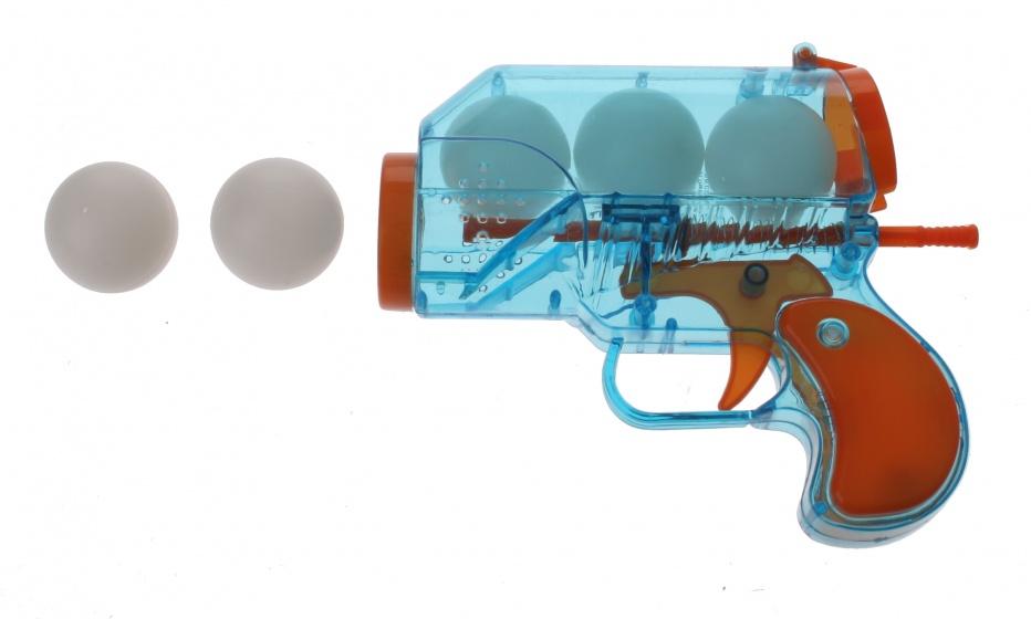 Eddy Toys Pistool met 5 ballen 6 delig 14 cm blauw