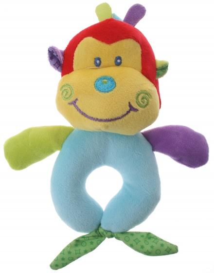 Eddy Toys pluche rammelaar aap geel/blauw 16 cm