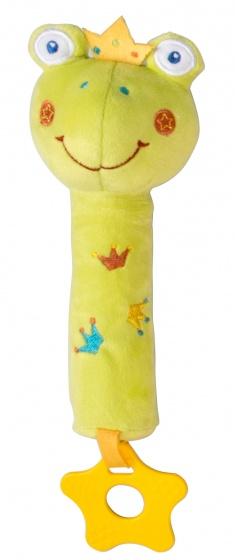 Eddy Toys pluche rammelaar kikker 19 cm