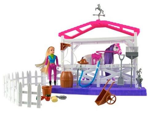 Eddy Toys Pop en paardenstal speelset 24 delig paars 23 cm