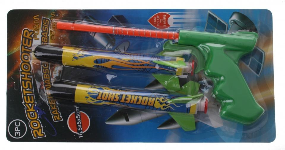 Eddy Toys raketschieter groen 17 cm 3 delig